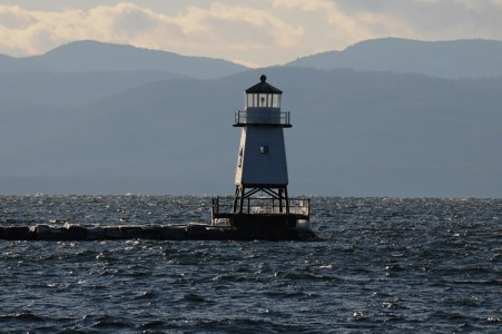 Lake Champlain waterfront breakwater lighthouse in Burlington, Vermont.