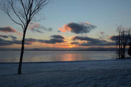 Lake Champlain sub zero sunset Shelburne Farms, Vermont.