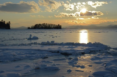 Lake Champlain ice Shelburne, Vermont.