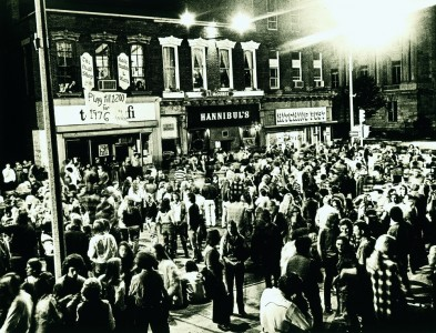People partying at night on Church Street in Burlington, Vermont