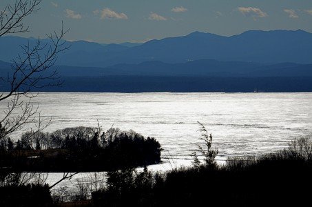Lake Champlain ice at Shelburne Farms in Shelburne, Vermont.