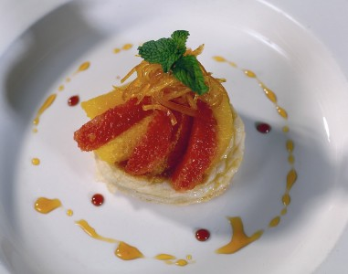 Delicious grapefruit and mandarin orange tartlet