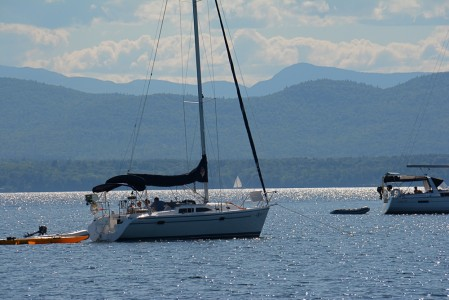 Boating on Lake Champlain in Shelburne, Vermont.