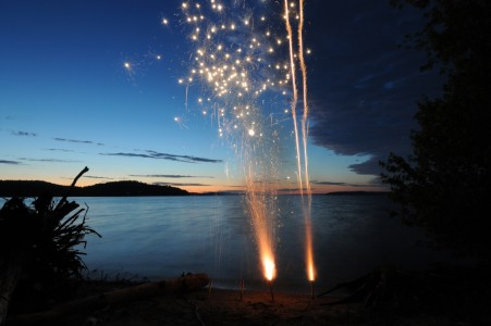 July 4th fireworks over Shelburne Bay on Lake Champlain in Shelburne, Vermont.