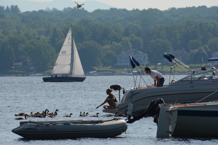 Boating on Lake Champlain in Shelburne Bay, Vermont.