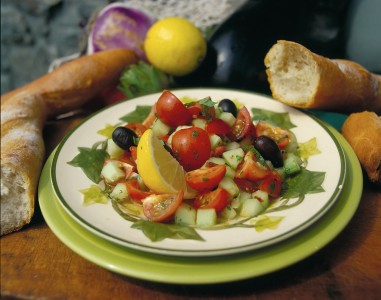 Light and fresh salad of tomatos, lemon, olives and cucumbers