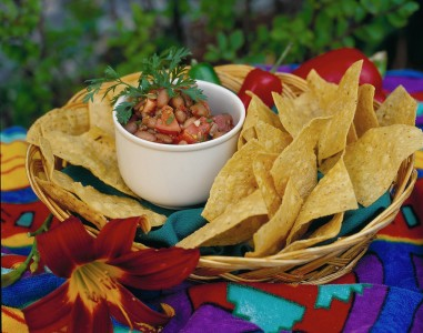 Chunky homemade salsa served with tortilla chips