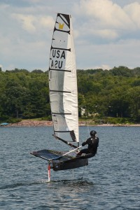 Moth sailing on Lake Champlain in Shelburne Bay, Shelburne, VT.