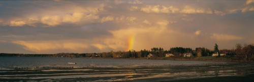 Rainbow over Shelburne Bay on Lake Champlain in Shelburne, Vermont