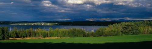 Shelburne Bay on Lake Champlain in Shelburne, Vermont with Mount Mansfield in the background