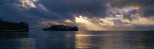 Sunset over Queneska Island on Lake Champlain from Shelburne Point in Shelburne, Vermont