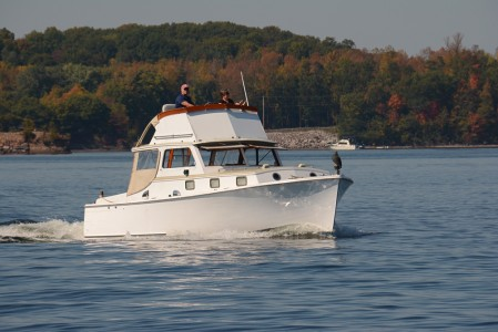 Fall boating on Lake Champlain Shelburne, Vermont.