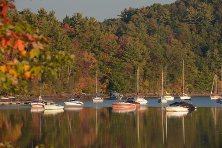 Fall boats on Lake Champlain Shelburne Bay, Vermont.