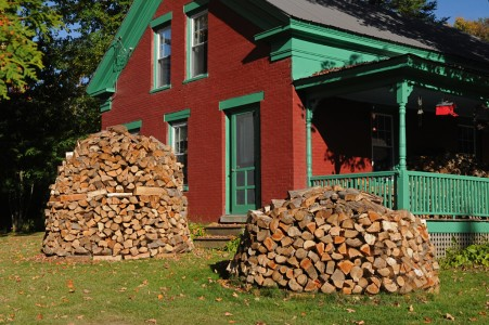 Fall wood pile Jericho, Vermont.