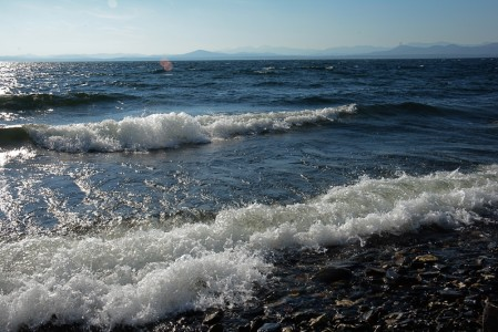 Big waves on Lake Champlain Shelburne Bay, Vermont.