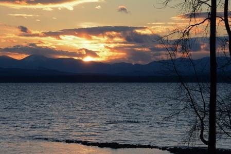 Lake Champlain Shelburne Farms Shelburne, Vermont sunset.