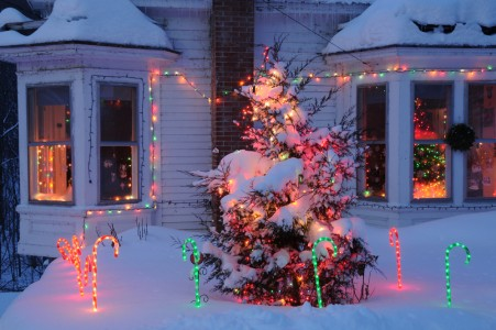 Christmas lights on home in Ferrisburg, Vermont.