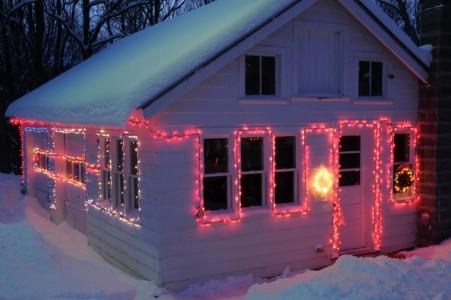 Christmas lights on garage in Ferrisburg, Vermont.