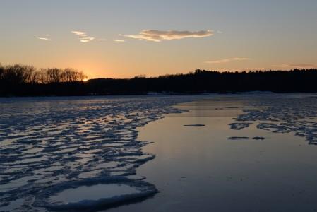 Lake Champlain sub zero sunset Shelburne, Vermont.