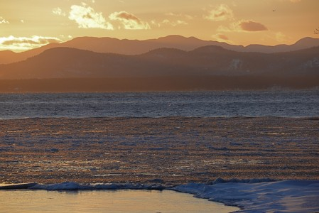 Lake Champlain sub zero sunset Shelburne Farms, Vermont.