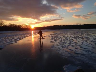 Skating Shelburne Bay on Lake Champlain Shelburne, Vermont.