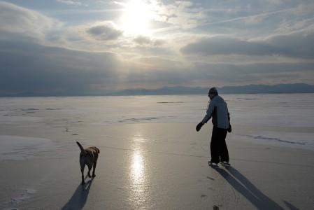 Skating on Lake Champlain Shelburne, Vermont.