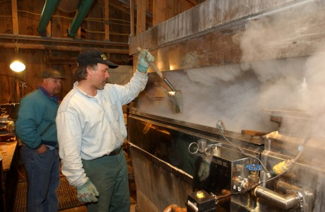 Making syrup in a sugar house in Fairfield Vermont