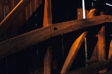 Covered bridge wood beams in Coventry, Vermont.