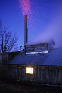 Steam and sparks rising from sugarhouse boiling maple tree sap into maple syrup in Fairfield, Vermont.