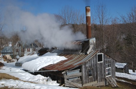 Boiling maple syrup in a sugar house in Pomfert, Vermont