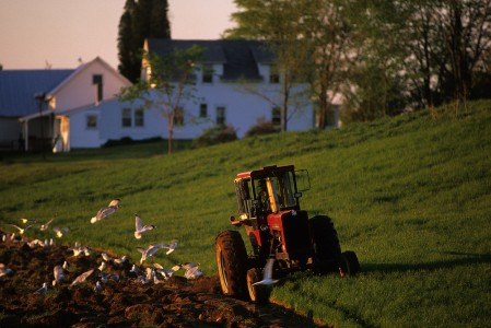Spring farmer in his tractor harrowing his field with farmhouse in background in WIlliston, Vermont.