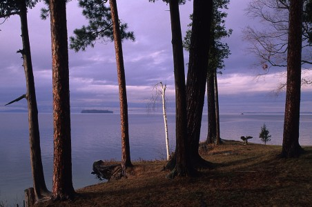 Spring view of Lake Champlain from Shelburne Point in Shelburne, Vermont.
