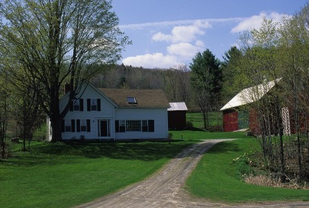 Spring scenery of a farmhouse in Jeffersonville, Vermont.