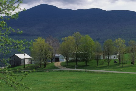 Spring scenic view of a farm in Lincoln, Vermont.