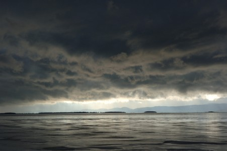 Storm clouds over Malletts Bay on Lake Champlain in Colchester, Vermont