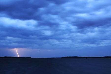 Big summer lighting storm over Shelburne Bay on Lake Champlain in Shelburne, Vermont.