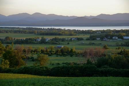 Farms in Charlotte, Vermont along Lake Champlain.