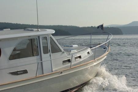 Freedom yacht on inner Mallett's Bay in Lake Champlain in Colchester, Vermont.