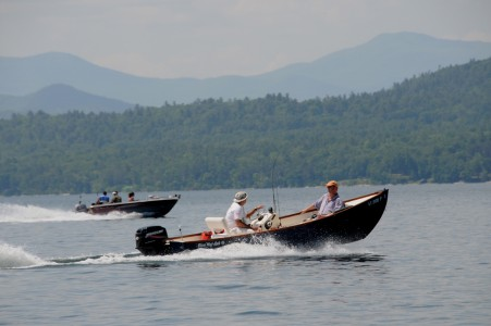 Cruising on fishing powerboat on the open waters of Lake Champlain in Ferrisburg, Vermont.