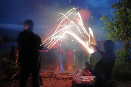 July 4th fireworks over Shelburne Bay on Lake Champlain in Shelburne, Vermont.