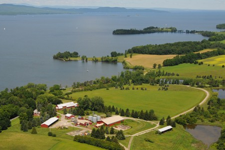 Shelburne farm on Lake Champlain Shelburne, Vermont.