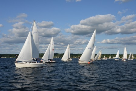 Wednesday night sailboat racing in Shelburne Bay on Lake Champlain.