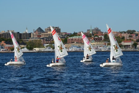 University of Vermont sailboat racing on Lake Champlain in Burlington, Vermont.