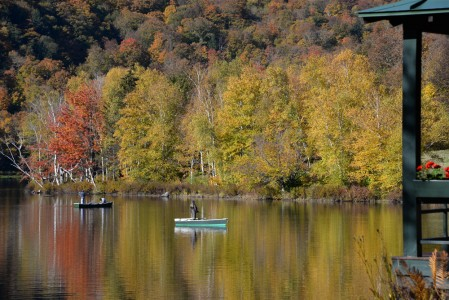Fall foliage Lake Mansfield Trout Club Stowe, Vermont.
