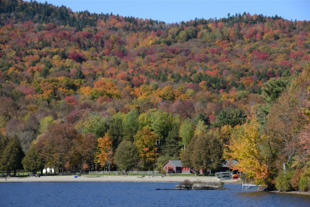Fall foliage Lake Elmore, Vermont.