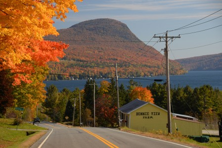 Route 5A Lake Willoughby in Westmore, Vermont.