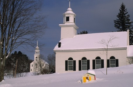 Scenic churches in Strafford, Vermont.