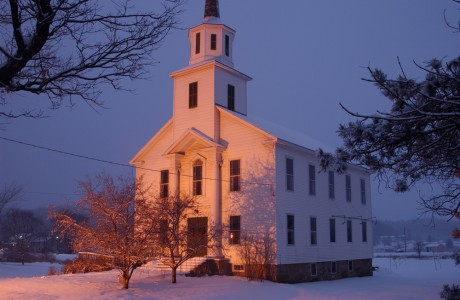 Church on a snowy winter evening in Hinesburg, Vermont