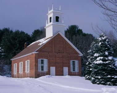Church on a winter day in Norwich, Vermont