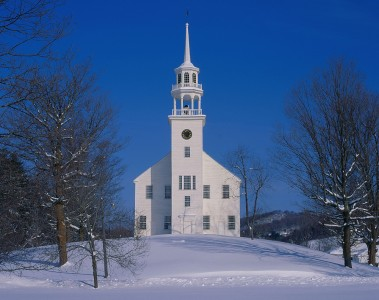 Church on a winter day in Strafford, Vermont